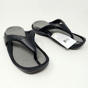 Crocs Athens Thong Flip Flops Black Gray Comfort